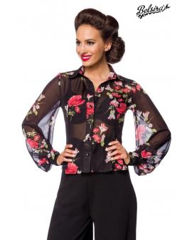 Vintage Chiffon Bluse schwarz transparent von Belsira