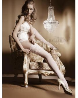 Ballerina Art. 003 weiß halterlose Strümpfe 20den