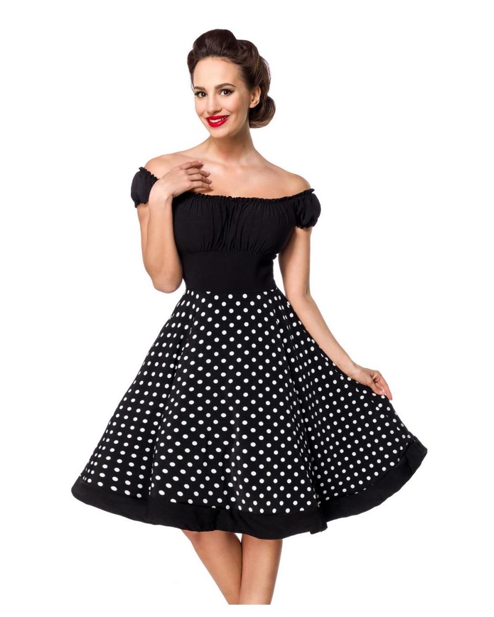 Schulterfreies Vintage Swing Kleid Schwarz Weiss Gepunktet Xs Bis 3xl