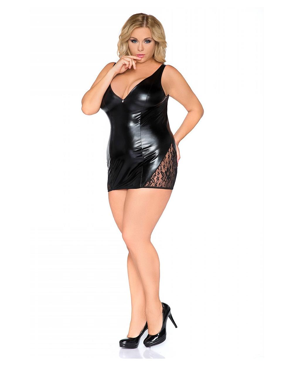 947a311a91f Wetlook Minikleid schwarz eng sexy Kleid Chemise mit Spitze ...