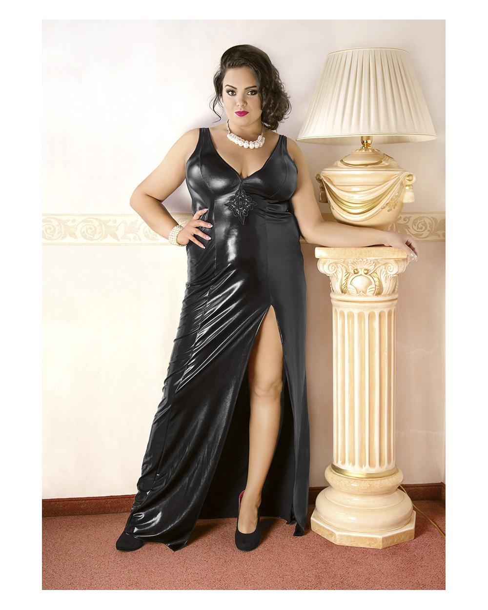 Wetlook-Kleid C/4005 schwarz Andalea