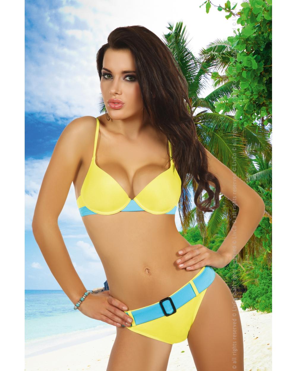 Push-Up Bikini Basanti gelb blau von LivCo Corsetti