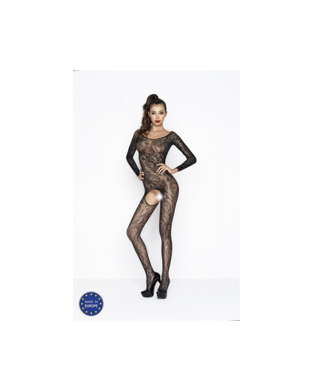 Netz Bodystocking Catsuit Schritt offen ouvert