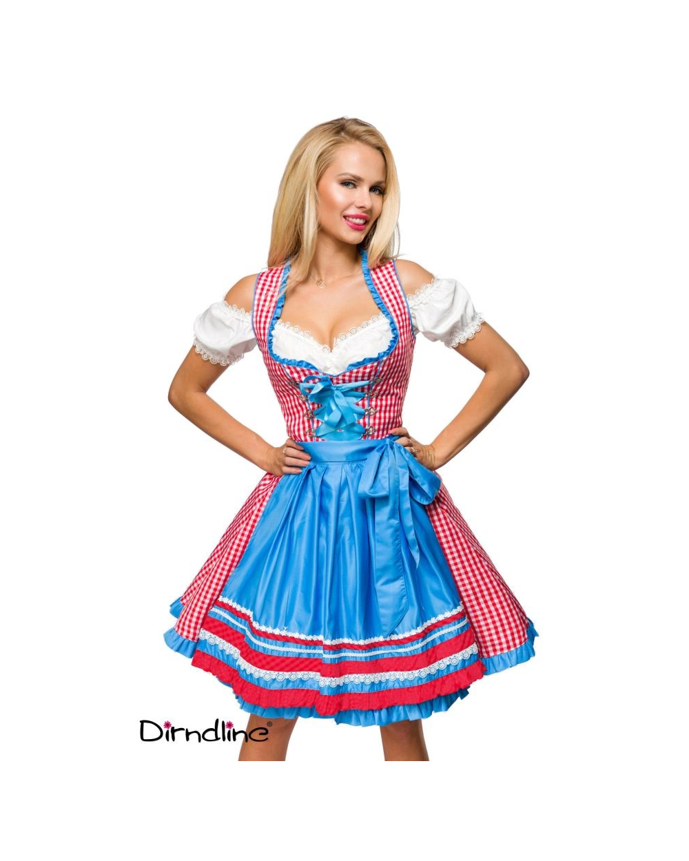 Oktoberfest Wiesn Traditionelles Karo-Dirndl rot weiß blau Dirndline
