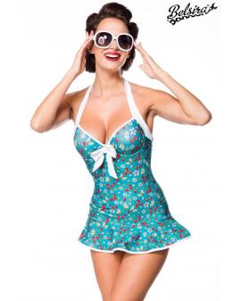 Vintage Swimdress blau mit Kirschen von Belsira