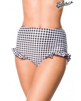 Vintage Bikini-Höschen schwarz weiß kariert Rüschen Belsira