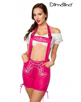 Trachten-Lederhose pink Kunst-Velourleder von Dirndline
