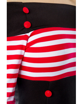schulterfreies Vintage Kleid schwarz rot weiß gestreift