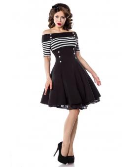 Schulterfreies Vintage Kleid schwarz weiß gestreift