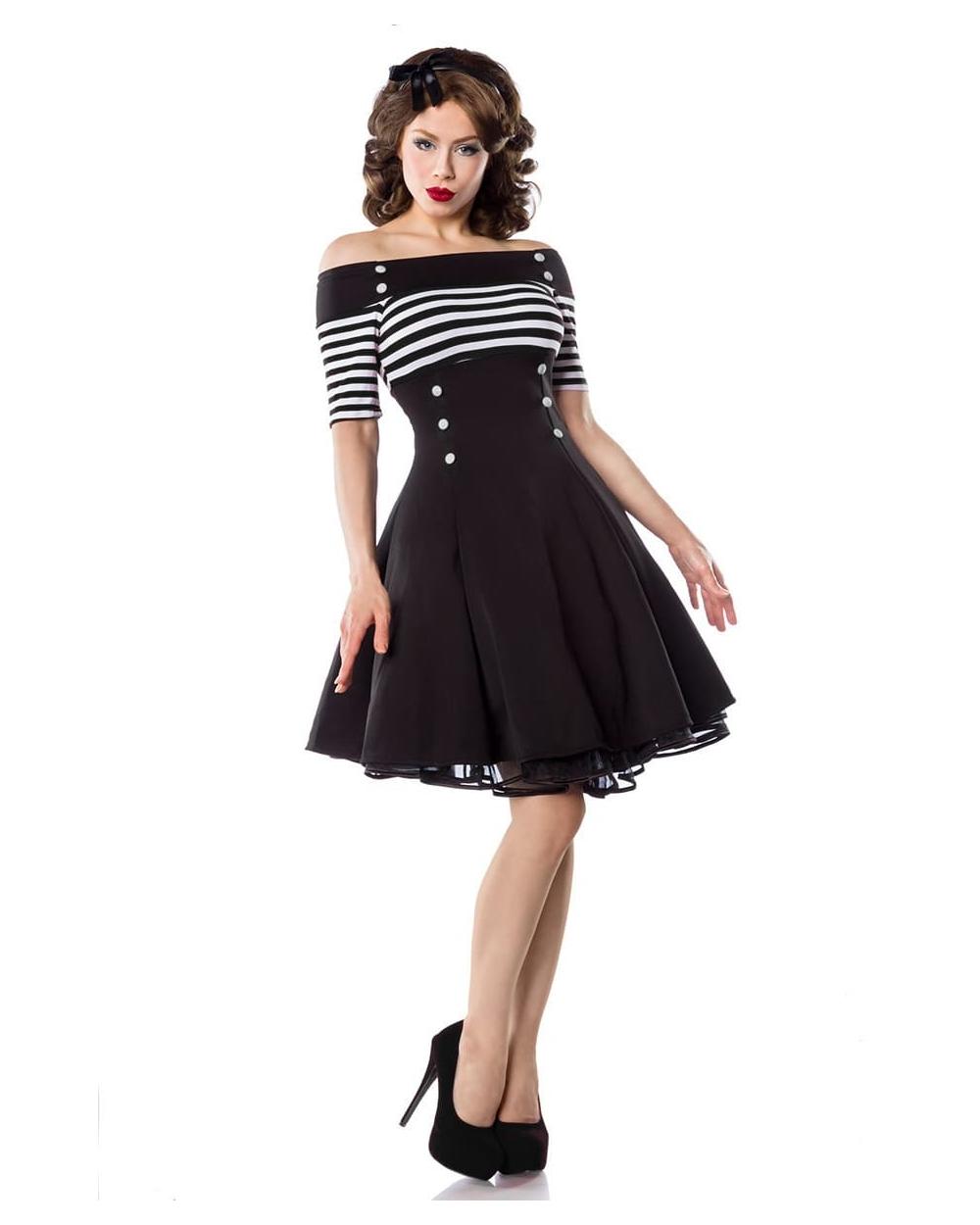 timeless design 9bb20 efd03 Schulterfreies Vintage Kleid schwarz weiß gestreift - XS bis 3XL