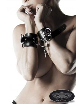 Kunstleder-Handschellen mit Schloss von Grey Velvet