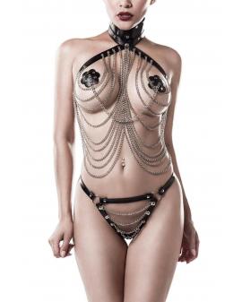 Kunstleder Ketten-Top und String von Grey Velvet