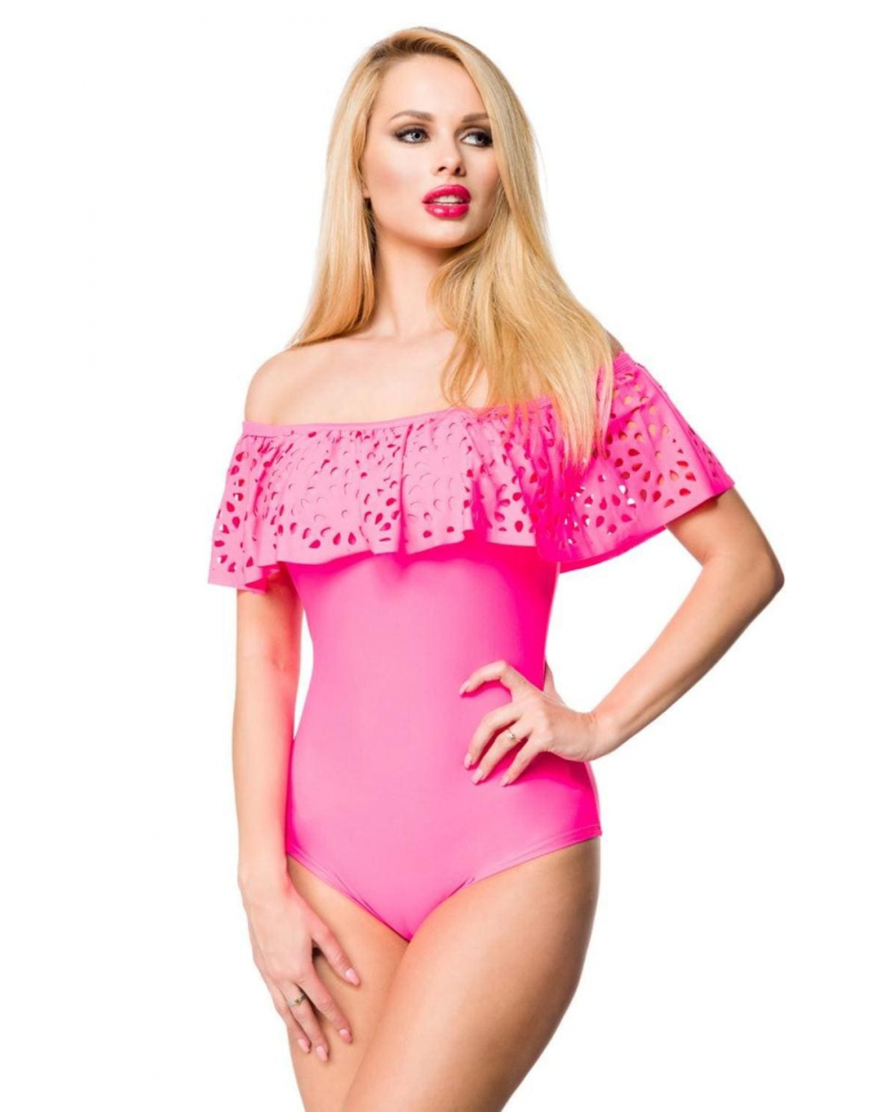 Badeanzug pink mit Carmen-Ausschnitt und Volant