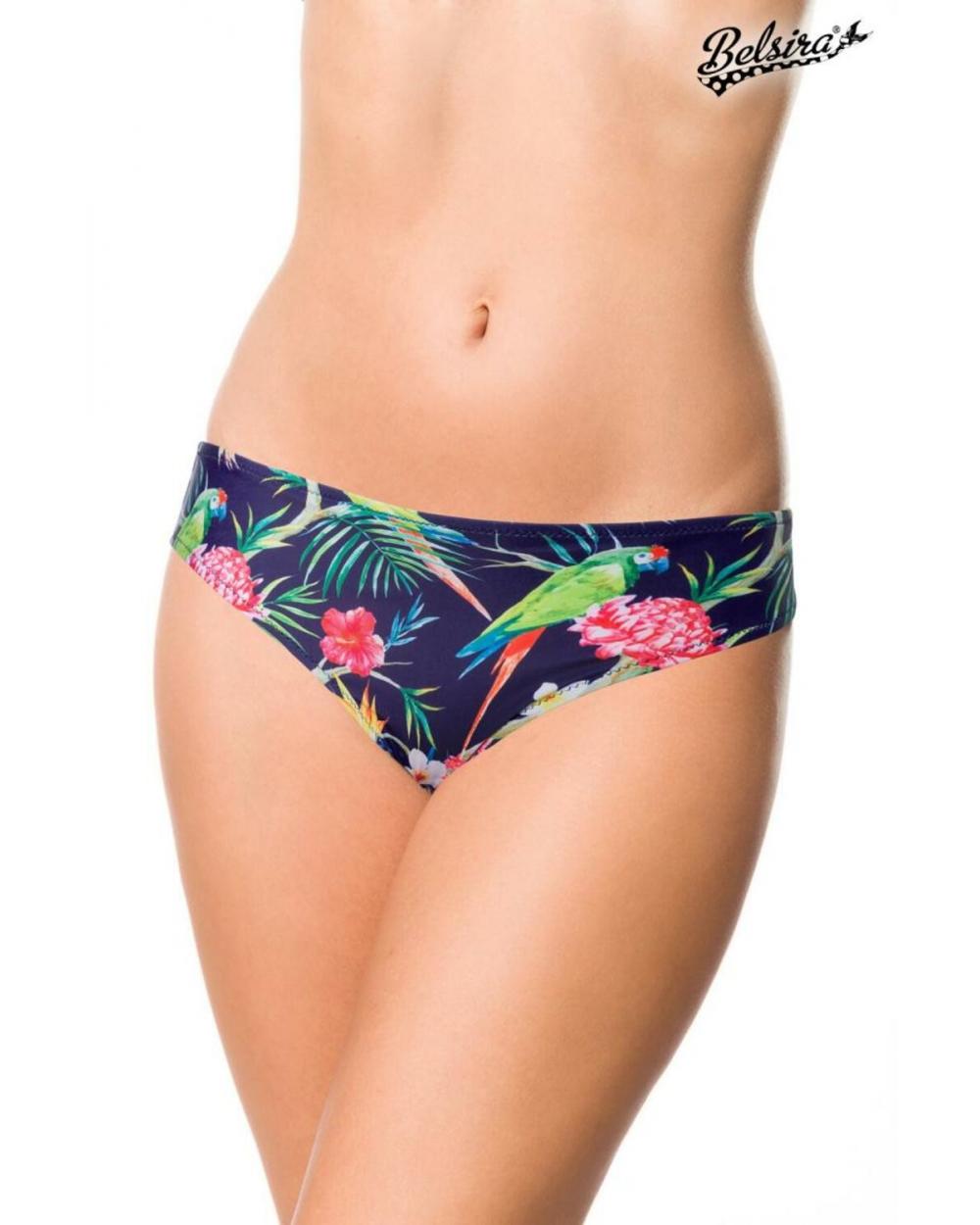 Vintage Bikini-Höschen dunkelblau gemustert S M L XL 2XL 3XL Highwaist Rüschen