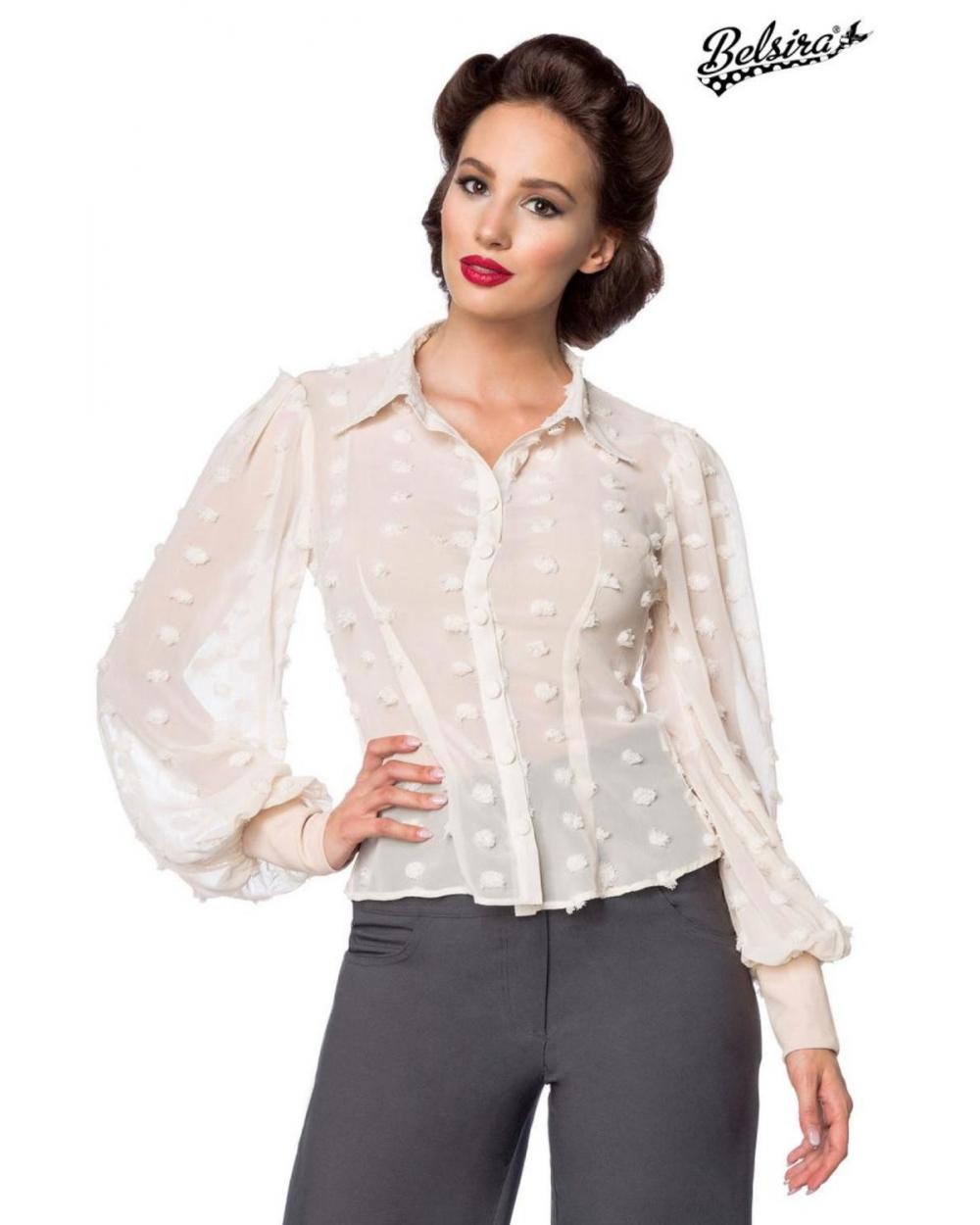 Vintage Chiffon Bluse beige transparent von Belsira