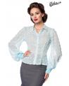 Vintage Chiffon Bluse hellblau transparent von Belsira