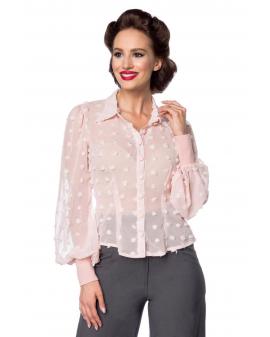 Vintage Chiffon Bluse rosa transparent von Belsira