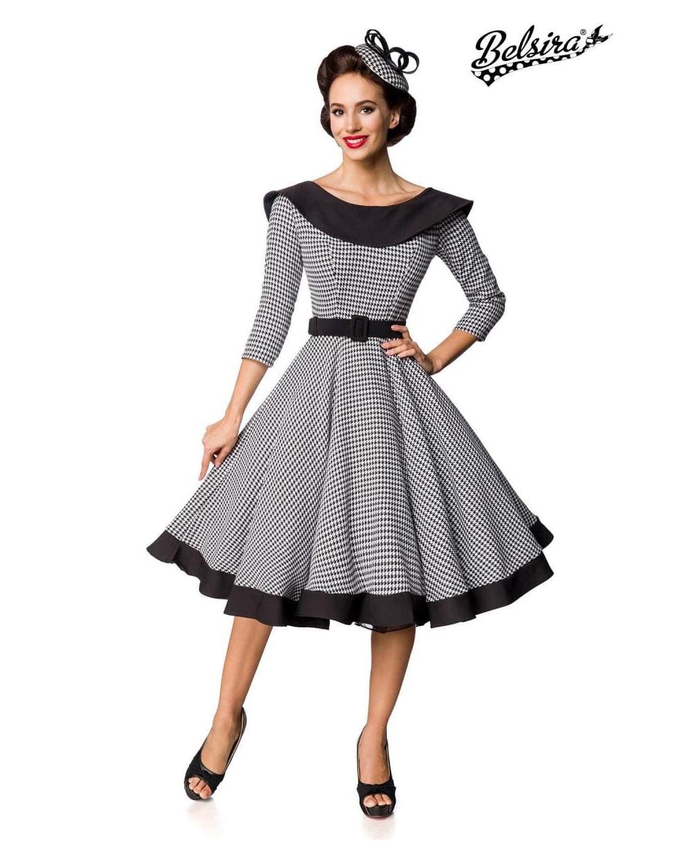Premium Vintage Swing-Kleid langarm schwarz weiß von Belsira