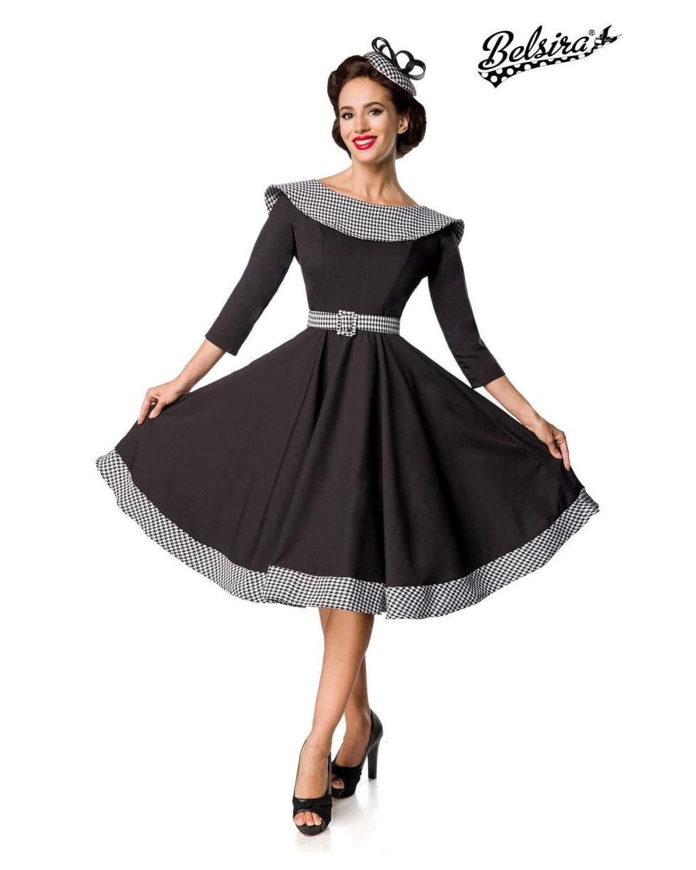 Premium Vintage langarm Swing-Kleid schwarz weiß von Belsira S bis 13XL