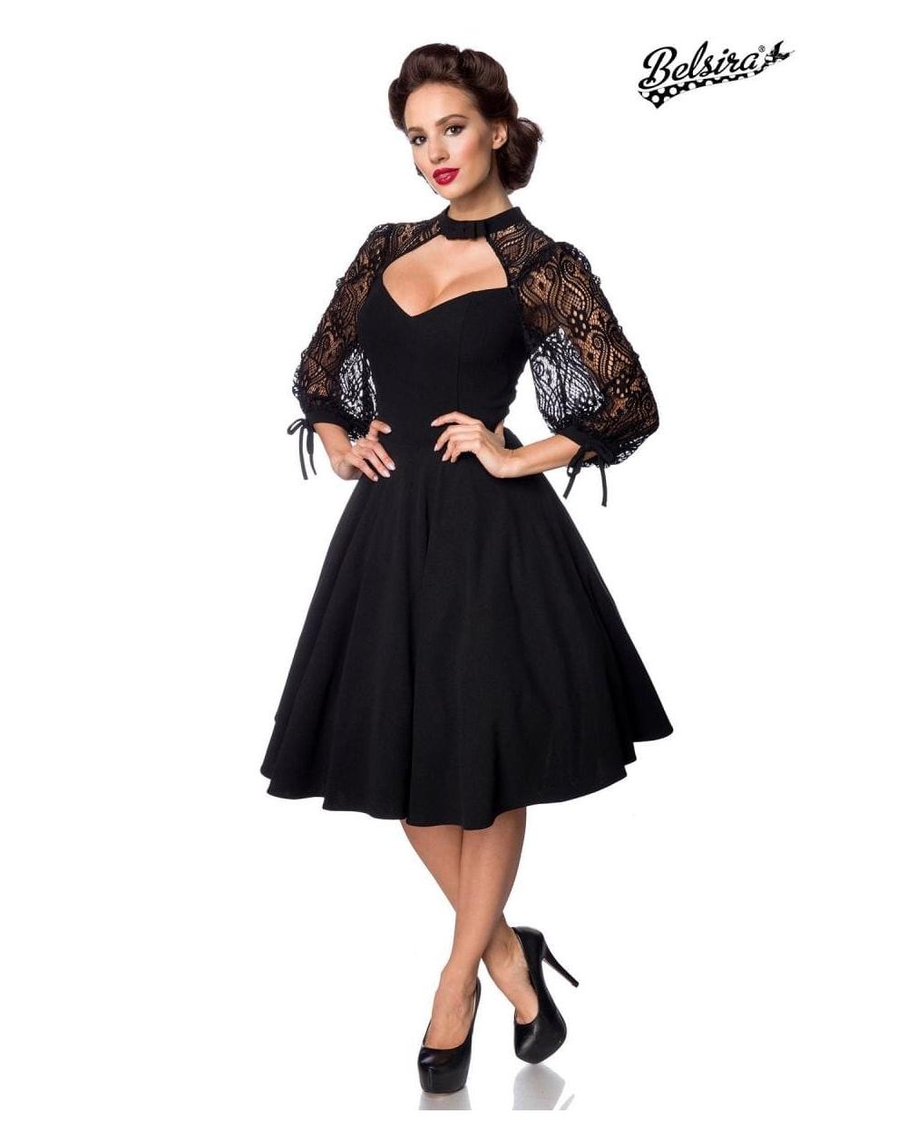 Belsira Vintage Kleid schwarz mit langen Spitzenärmeln