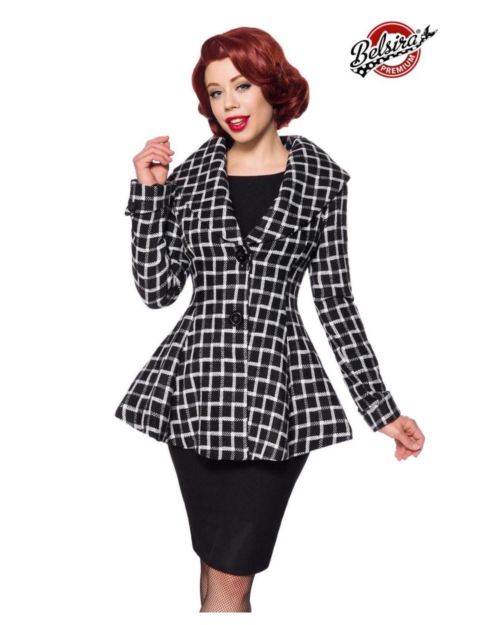 Belsira Premium Blazer-Jacke schwarz weiß
